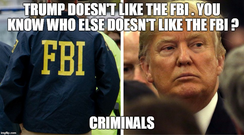 TRUMP DOESN'T LIKE THE FBI . YOU KNOW WHO ELSE DOESN'T LIKE THE FBI ? CRIMINALS | image tagged in trump,fbi | made w/ Imgflip meme maker