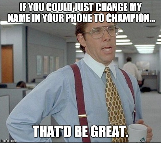 Fantasy champion | IF YOU COULD JUST CHANGE MY NAME IN YOUR PHONE TO CHAMPION... THAT'D BE GREAT. | image tagged in fantasy football | made w/ Imgflip meme maker