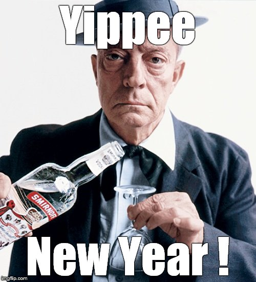 Buster vodka ad | Yippee New Year ! | image tagged in buster vodka ad | made w/ Imgflip meme maker