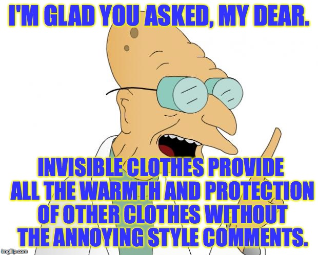 I'M GLAD YOU ASKED, MY DEAR. INVISIBLE CLOTHES PROVIDE ALL THE WARMTH AND PROTECTION OF OTHER CLOTHES WITHOUT THE ANNOYING STYLE COMMENTS. | made w/ Imgflip meme maker