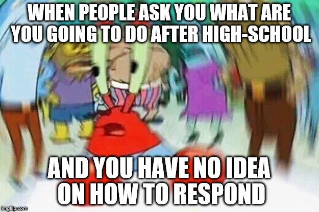 WHEN PEOPLE ASK YOU WHAT ARE YOU GOING TO DO AFTER HIGH-SCHOOL AND YOU HAVE NO IDEA ON HOW TO RESPOND | image tagged in mrkrabs confused | made w/ Imgflip meme maker