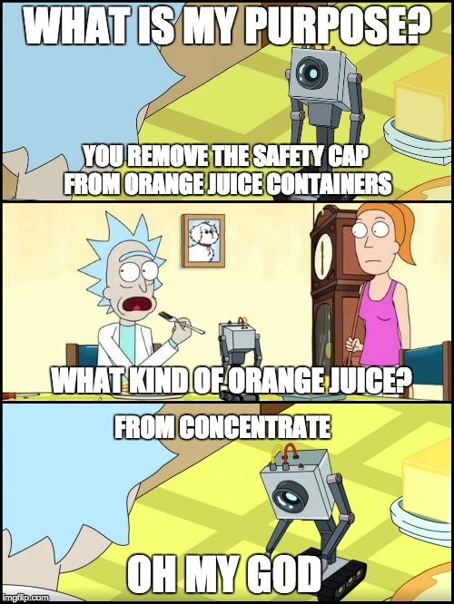What is my purpose? | WHAT IS MY PURPOSE? YOU REMOVE THE SAFETY CAP FROM ORANGE JUICE CONTAINERS OH MY GOD WHAT KIND OF ORANGE JUICE? FROM CONCENTRATE | image tagged in rick and morty butter,orange juice,rick and morty,memes,purpose | made w/ Imgflip meme maker