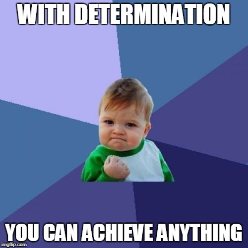 Success Kid Meme | WITH DETERMINATION YOU CAN ACHIEVE ANYTHING | image tagged in memes,success kid | made w/ Imgflip meme maker