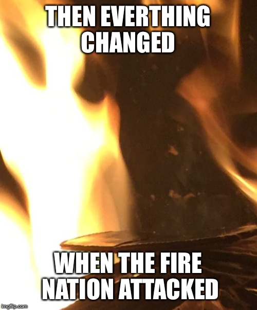 Everything was fine | THEN EVERTHING CHANGED WHEN THE FIRE NATION ATTACKED | image tagged in firith,nation,fire manta,gilligan oaf,meme | made w/ Imgflip meme maker