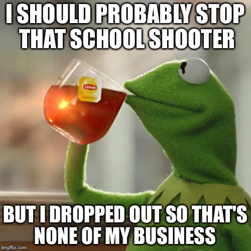 But Thats None Of My Business Meme | I SHOULD PROBABLY STOP THAT SCHOOL SHOOTER BUT I DROPPED OUT SO THAT'S NONE OF MY BUSINESS | image tagged in memes,but thats none of my business,kermit the frog | made w/ Imgflip meme maker
