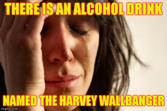 First World Problems Meme | THERE IS AN ALCOHOL DRINK NAMED THE HARVEY WALLBANGER | image tagged in memes,first world problems | made w/ Imgflip meme maker
