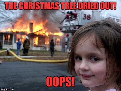 Disaster Girl Meme | THE CHRISTMAS TREE DRIED OUT! OOPS! | image tagged in memes,disaster girl | made w/ Imgflip meme maker