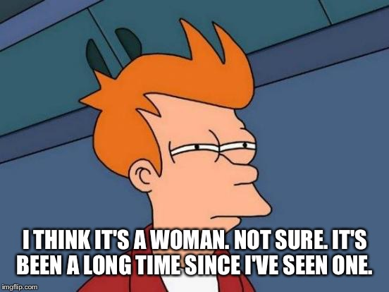 Futurama Fry Meme | I THINK IT'S A WOMAN. NOT SURE. IT'S BEEN A LONG TIME SINCE I'VE SEEN ONE. | image tagged in memes,futurama fry | made w/ Imgflip meme maker