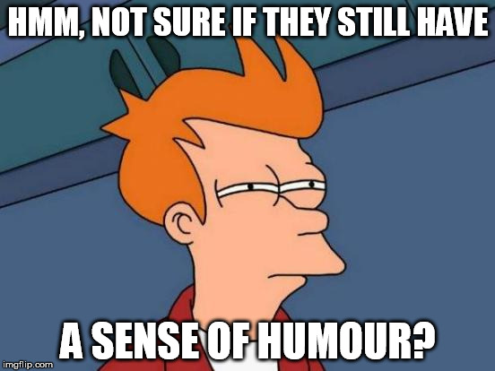 Trying to be Funny | HMM, NOT SURE IF THEY STILL HAVE A SENSE OF HUMOUR? | image tagged in memes,futurama fry | made w/ Imgflip meme maker