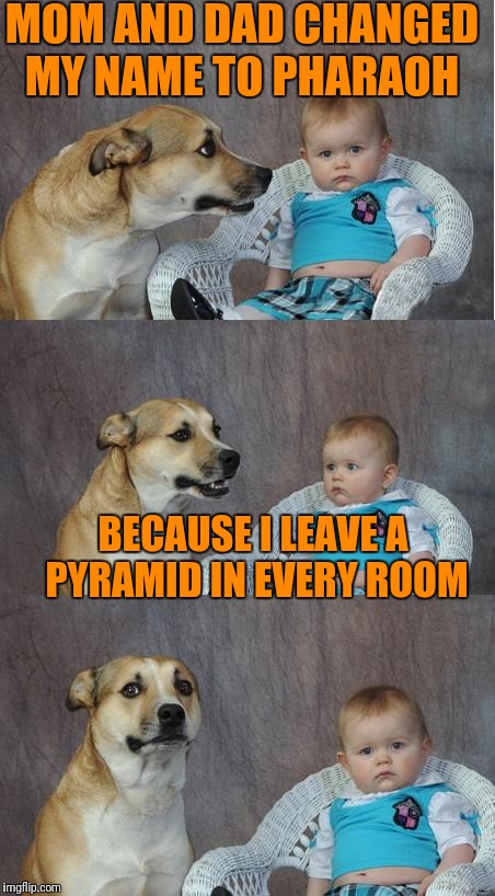 Bad joke dog | MOM AND DAD CHANGED MY NAME TO PHARAOH BECAUSE I LEAVE A PYRAMID IN EVERY ROOM | image tagged in bad joke dog | made w/ Imgflip meme maker