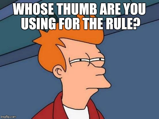Rule of thumb? | WHOSE THUMB ARE YOU USING FOR THE RULE? | image tagged in memes,futurama fry,rule of thumb,whose,using,you | made w/ Imgflip meme maker