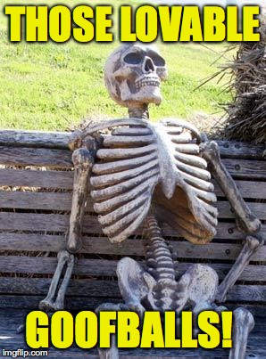 Waiting Skeleton Meme | THOSE LOVABLE GOOFBALLS! | image tagged in memes,waiting skeleton | made w/ Imgflip meme maker