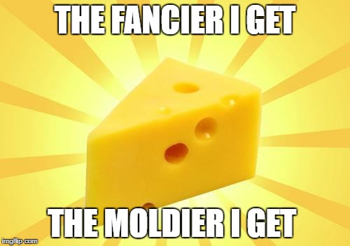 Cheese Time | THE FANCIER I GET THE MOLDIER I GET | image tagged in cheese time | made w/ Imgflip meme maker