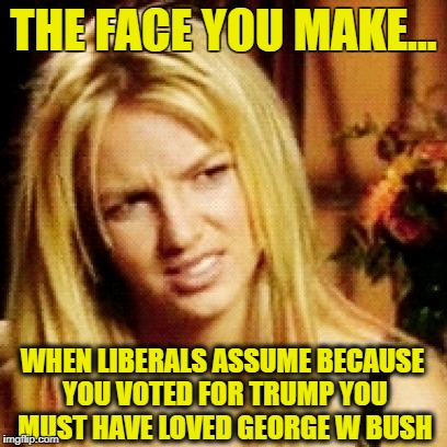 THE FACE YOU MAKE... WHEN LIBERALS ASSUME BECAUSE YOU VOTED FOR TRUMP YOU MUST HAVE LOVED GEORGE W BUSH | image tagged in memes,liberal logic,snowflakes,liberals,democratic party,george w bush | made w/ Imgflip meme maker