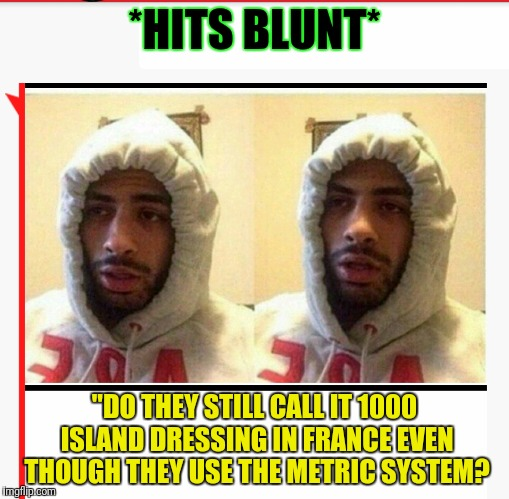 "The Metric Blunt | *HITS BLUNT* ""DO THEY STILL CALL IT 1000 ISLAND DRESSING IN FRANCE EVEN THOUGH THEY USE THE METRIC SYSTEM? 