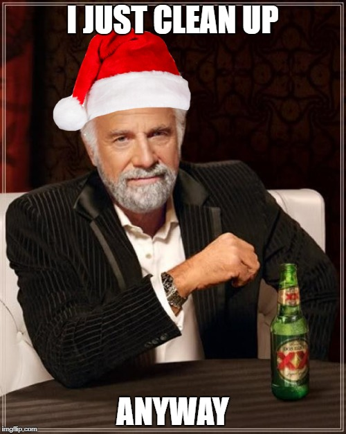 The Most Interesting Man In The World Meme | I JUST CLEAN UP ANYWAY | image tagged in memes,the most interesting man in the world | made w/ Imgflip meme maker