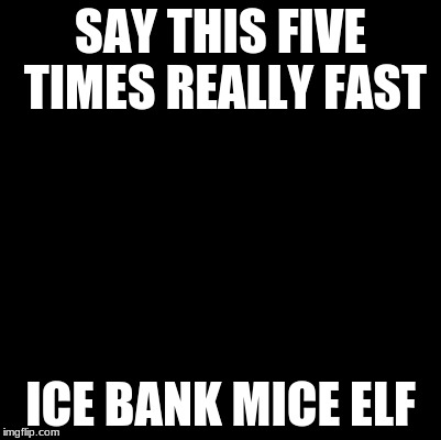Blank | SAY THIS FIVE TIMES REALLY FAST ICE BANK MICE ELF | image tagged in blank | made w/ Imgflip meme maker