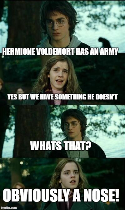 Horny Harry Meme | HERMIONE VOLDEMORT HAS AN ARMY YES BUT WE HAVE SOMETHING HE DOESN'T WHATS THAT? OBVIOUSLY A NOSE! | image tagged in memes,horny harry | made w/ Imgflip meme maker
