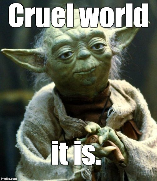 Star Wars Yoda Meme | Cruel world it is. | image tagged in memes,star wars yoda | made w/ Imgflip meme maker