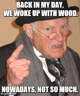Back In My Day Meme | BACK IN MY DAY, WE WOKE UP WITH WOOD. NOWADAYS, NOT SO MUCH. | image tagged in memes,back in my day | made w/ Imgflip meme maker