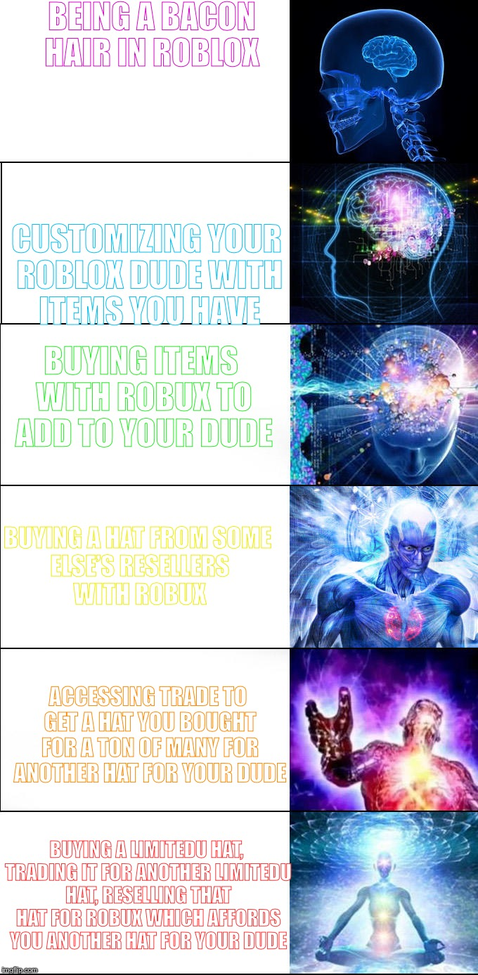 BEING A BACON HAIR IN ROBLOX CUSTOMIZING YOUR ROBLOX DUDE WITH ITEMS YOU HAVE BUYING ITEMS WITH ROBUX TO ADD TO YOUR DUDE BUYING A HAT FROM  | image tagged in expanding brain | made w/ Imgflip meme maker