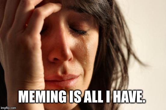 First World Problems Meme | MEMING IS ALL I HAVE. | image tagged in memes,first world problems | made w/ Imgflip meme maker