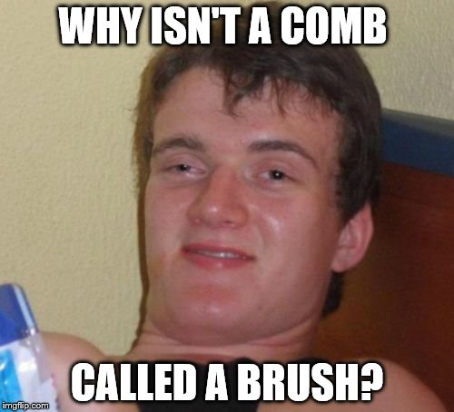 Cause you like brush your hair with it and stuff... | WHY ISN'T A COMB CALLED A BRUSH? | image tagged in memes,10 guy | made w/ Imgflip meme maker