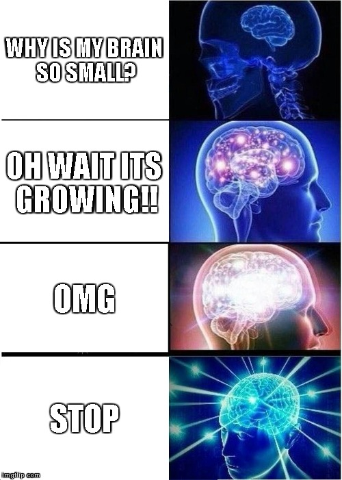 Expanding Brain Meme | WHY IS MY BRAIN SO SMALL? OH WAIT ITS GROWING!! OMG STOP | image tagged in memes,expanding brain | made w/ Imgflip meme maker