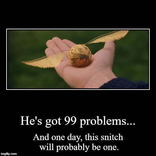 He's got 99 problems... | And one day, this snitch will probably be one. | image tagged in funny,demotivationals | made w/ Imgflip demotivational maker