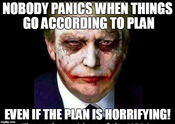Nobody Panics | NOBODY PANICS WHEN THINGS GO ACCORDING TO PLAN EVEN IF THE PLAN IS HORRIFYING! | image tagged in trump,joker | made w/ Imgflip meme maker