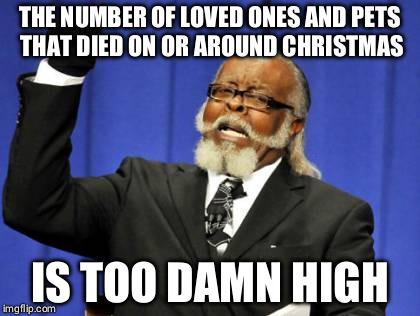 Too Damn High Meme | THE NUMBER OF LOVED ONES AND PETS THAT DIED ON OR AROUND CHRISTMAS IS TOO DAMN HIGH | image tagged in memes,too damn high,AdviceAnimals | made w/ Imgflip meme maker