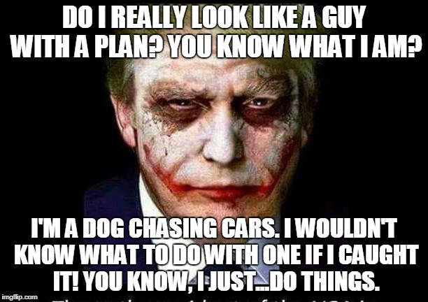 Trump as the Joker | DO I REALLY LOOK LIKE A GUY WITH A PLAN? YOU KNOW WHAT I AM? I'M A DOG CHASING CARS. I WOULDN'T KNOW WHAT TO DO WITH ONE IF I CAUGHT IT! YOU | image tagged in trump,joker,batman,dog chasing cars | made w/ Imgflip meme maker