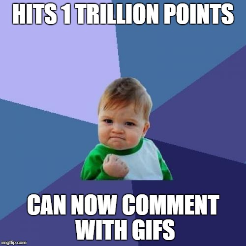 Success Kid Meme | HITS 1 TRILLION POINTS CAN NOW COMMENT WITH GIFS | image tagged in memes,success kid | made w/ Imgflip meme maker