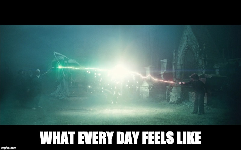 uddhamsoto | WHAT EVERY DAY FEELS LIKE | image tagged in harry potter,voldemort,hufflepuff,slytherin,dank memes | made w/ Imgflip meme maker