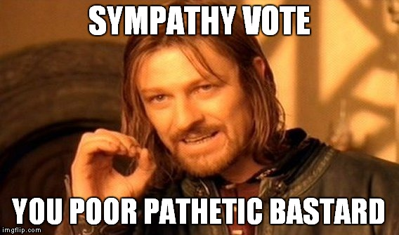 One Does Not Simply Meme | SYMPATHY VOTE YOU POOR PATHETIC BASTARD | image tagged in memes,one does not simply | made w/ Imgflip meme maker