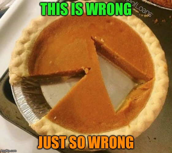 Pumpkin pie cut poorly |  THIS IS WRONG; JUST SO WRONG | image tagged in pumpkin pie fight,pie,memes,poor | made w/ Imgflip meme maker
