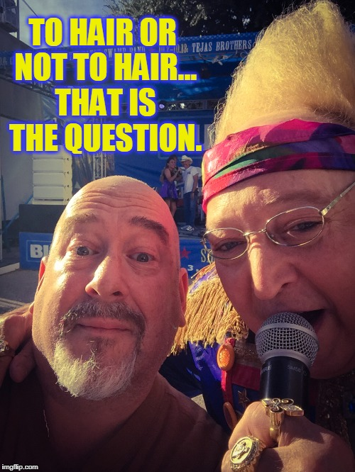 A home for fleas, a hive to bees, a nest for birds, ain't no words for the beauty, the splendor, the wonder of my hair | TO HAIR OR NOT TO HAIR... THAT IS THE QUESTION. | image tagged in vince vance,bald,bald headed,tall hair dude | made w/ Imgflip meme maker