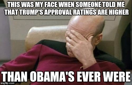 Captain Picard Facepalm Meme | THIS WAS MY FACE WHEN SOMEONE TOLD ME THAT TRUMP'S APPROVAL RATINGS ARE HIGHER THAN OBAMA'S EVER WERE | image tagged in memes,captain picard facepalm | made w/ Imgflip meme maker