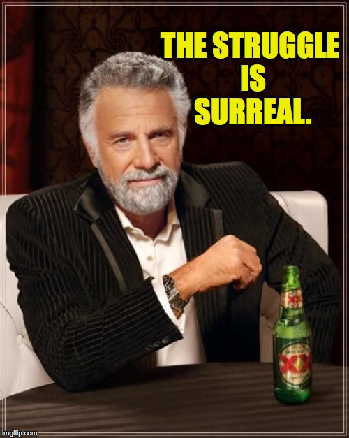 The Most Interesting Man In The World Meme | THE STRUGGLE IS SURREAL. | image tagged in memes,the most interesting man in the world | made w/ Imgflip meme maker