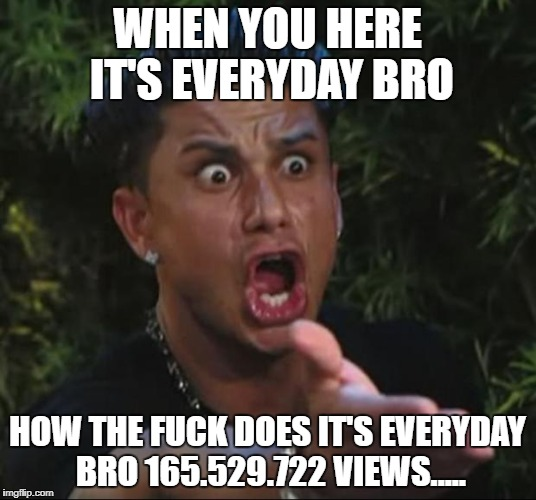 DJ Pauly D Meme | WHEN YOU HERE IT'S EVERYDAY BRO HOW THE F**K DOES IT'S EVERYDAY BRO 165.529.722 VIEWS..... | image tagged in memes,dj pauly d | made w/ Imgflip meme maker