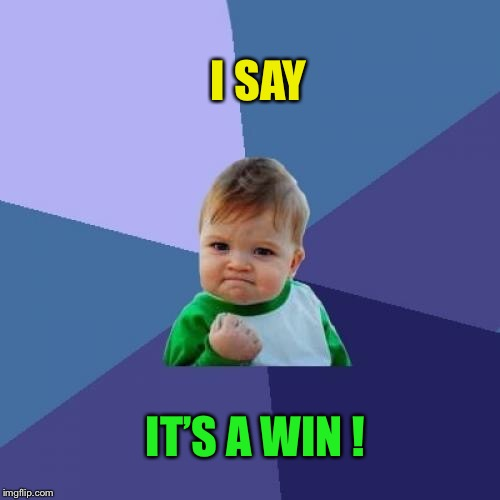 Success Kid Meme | I SAY IT'S A WIN ! | image tagged in memes,success kid | made w/ Imgflip meme maker
