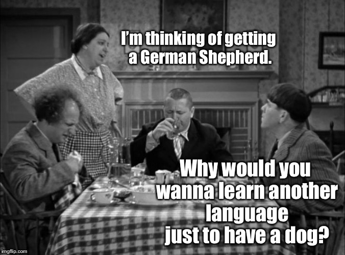 Adopt A Dog lesson 1 | . | image tagged in memes,3 stooges,german shepherd,new language,funny memes | made w/ Imgflip meme maker