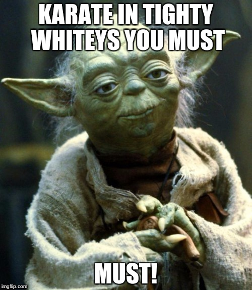 Star Wars Yoda Meme | KARATE IN TIGHTY WHITEYS YOU MUST MUST! | image tagged in memes,star wars yoda | made w/ Imgflip meme maker