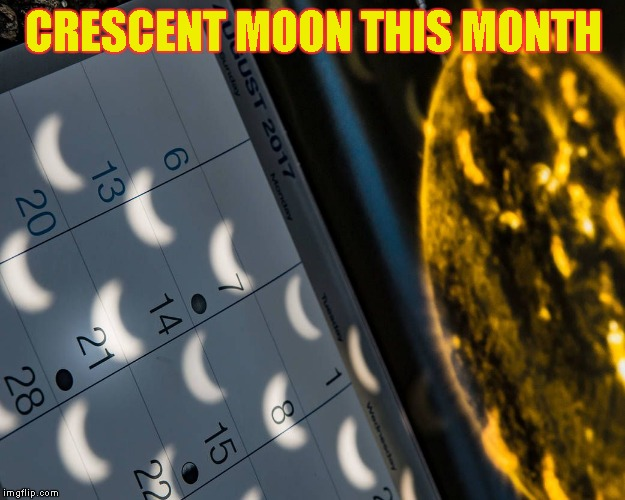 CRESCENT MOON THIS MONTH | image tagged in calendar with crescent moons | made w/ Imgflip meme maker