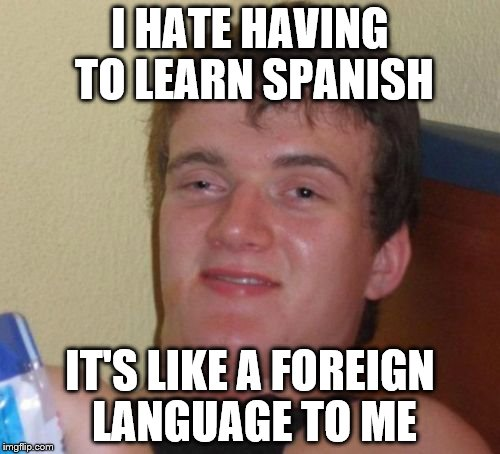10 Guy Meme | I HATE HAVING TO LEARN SPANISH IT'S LIKE A FOREIGN LANGUAGE TO ME | image tagged in memes,10 guy | made w/ Imgflip meme maker