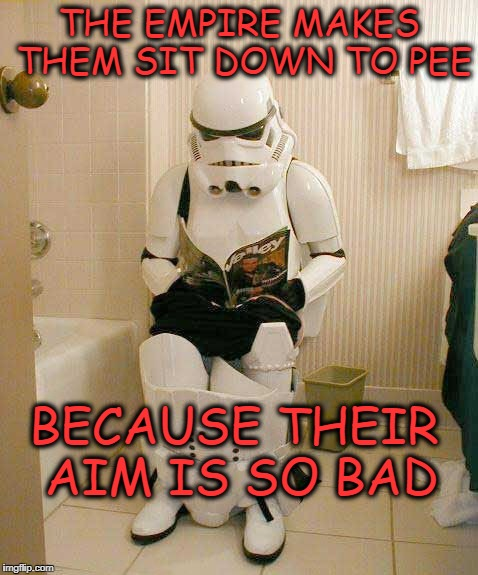 Sit down to pee |  THE EMPIRE MAKES THEM SIT DOWN TO PEE; BECAUSE THEIR AIM IS SO BAD | image tagged in stormtroopers,pee | made w/ Imgflip meme maker