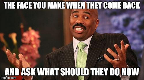 Steve Harvey Meme | THE FACE YOU MAKE WHEN THEY COME BACK AND ASK WHAT SHOULD THEY DO NOW | image tagged in memes,steve harvey | made w/ Imgflip meme maker
