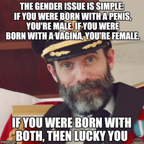 Gender simplified... | THE GENDER ISSUE IS SIMPLE: IF YOU WERE BORN WITH A P**IS, YOU'RE MALE. IF YOU WERE BORN WITH A VA**NA, YOU'RE FEMALE. IF YOU WERE BORN WITH | image tagged in captain obvious,gender identity,gender confusion,jbmemegeek,memes,transgender | made w/ Imgflip meme maker