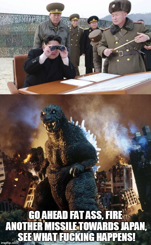 The King vs. the Idiot | GO AHEAD FAT ASS, FIRE ANOTHER MISSILE TOWARDS JAPAN, SEE WHAT F**KING HAPPENS! | image tagged in nsfw,kim jong un,angry godzilla | made w/ Imgflip meme maker