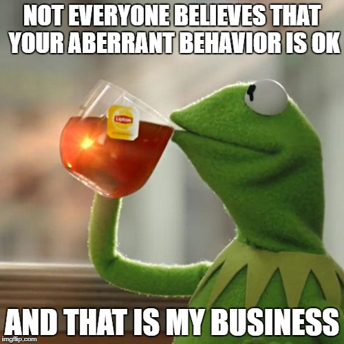 But Thats None Of My Business Meme | NOT EVERYONE BELIEVES THAT YOUR ABERRANT BEHAVIOR IS OK AND THAT IS MY BUSINESS | image tagged in memes,but thats none of my business,kermit the frog | made w/ Imgflip meme maker